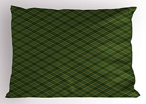 Tigeaslg Green Pillow Sham, Traditional Old Fashioned Argyle Pattern Retro Style Plaid, Decorative Standard Queen Size Printed Pillowcase, 30 X 20 inches, Hunter Green Forest Green Yellow (Hunter Settee)