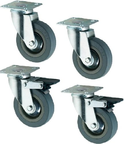 4 RUBBER CASTORS/CASTERS WHEELS 75 mm, Coldene Castors Coldene Castors Ltd