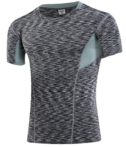 Cruiize Men's Quick Dry Compression Baselayer Under Layer Mock Sports Fitness Running Short Sleeve T Shirts Tops Black Medium