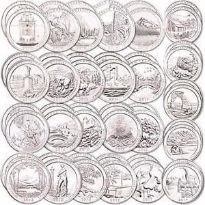 36 P National Park Quarters complete 2010-2017 with Folder Philadelphia MINT ((NEW EFFIGY QUARTER)) Extremely Fine Details