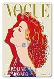 8in x 12in Vintage Tin Sign - Fashion Magazine Paris - Princess Caroline of Monaco by Andy Warhol - Vintage Magazine Cover by Andy Warhol c.1984