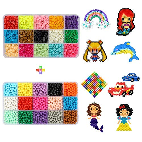 Fuse Beads Magic Water Sticky Beads - 15 Colors+15 Colors Mega Bead Refill Beads Compatible with Perler Beads Kit Aqua Beads and Beados Art Crafts Toys for Kids Over 4000 ()