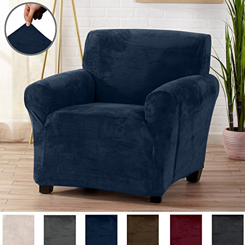 Great Bay Home Modern Velvet Plush Strapless Slipcover. Form Fit Stretch, Stylish Furniture Cover/Protector. Gale Collection by Brand. (Chair, Dark Denim ()