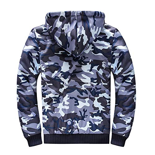 Manteau Tops Camouflage shirt À Bleu6 Homme Pour De Uface Zip Capuche Blouse Outwear Sweat dqpw6