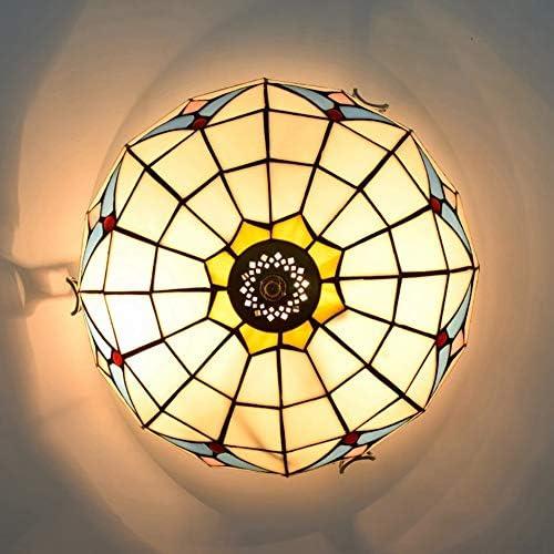 12 \'\' Tiffany Style LED Plafoniera Plafoniera Europea Vetro Bianco E Pietra Preziosa Paralume in Vetro Colorato Lampadario Soggiorno Corridoio Studio Balcone