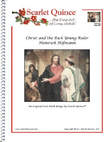Scarlet Quince HOF003lg Christ and the Rich Young Ruler by Heinrich Hofmann Counted Cross Stitch Chart, Large Size Symbols