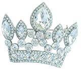 "Sindary Classic Wedding 2.56"" Crown Brooch Pin Pendant Clear Austrian Crystal BZ5050"