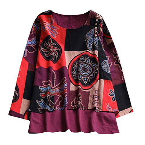 Pullover Rosso Women Blouse Tops Stampa Lunghe Hooded Shirt Maniche Sciolto POxEq6x