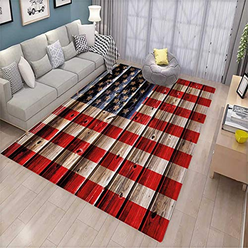 4th of July Door Mats Area Rug Rustic Backdrop with American