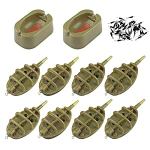XYUAN Fishing Feeders10 Pieces,Fishing Inline Method Feeders with Quick Release Mould for Carp Fishing Bait Accessories…
