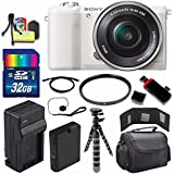 Sony Alpha a5100 Mirrorless Digital Camera with 16-50mm Lens (White) + Battery + Charger + 32GB Bundle 2 - International Version (No Warranty)