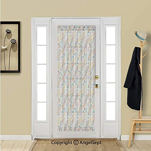 French Door Window Curtains - Functional Thermal Insulated Chiffon Curtain Panels for Patio Door/Sidelight Door 54W by 72L Inches,Geometric,Boho Memphis Style Old Fashion Italian Art with Tribal Eleme (Patio Memphis Furniture)