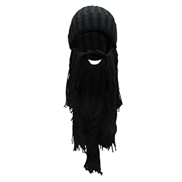 ebfa0942d6e Wingbind Viking Horns Bearded Knit Cap Beanie Novelty Mens Original  Barbarian Vagabond Funny Beard Hat