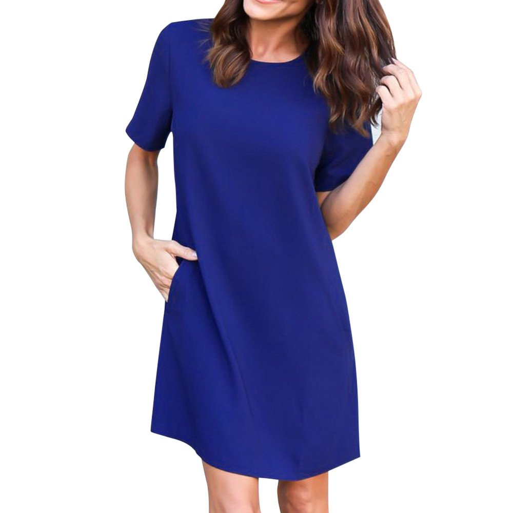 Women Dress Short Sleeve Casual Solid Color Loose Midi Dress with Pocket Knee Length (L, Blue)