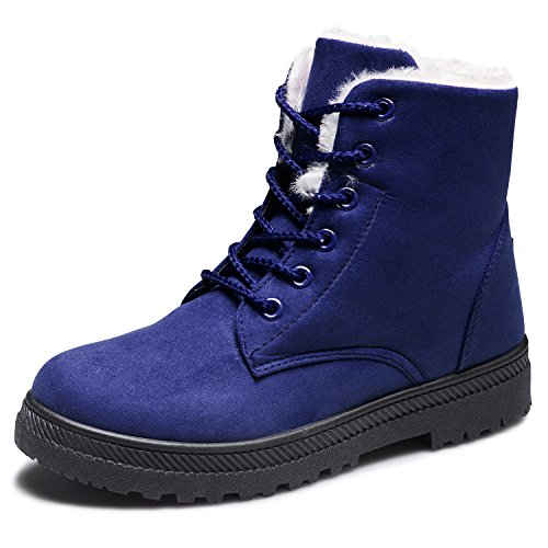 EQUICK Womens Winter Warm Suede Lace Up Snow Boots Fashion Flat Platform Sneakers Blue PrbBds