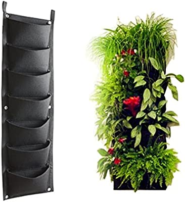 amashz vertical jardín pared poliéster vida interior pared maceta bolsa 7 bolsillos: Amazon.es: Jardín