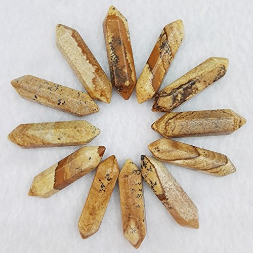 jennysun2010 2 Pcs Natural Picture Jasper Gemstone Hexagonal Pointed Reiki Chakra Raw Wand Pendant Beads Healing DIY Jewelry ()