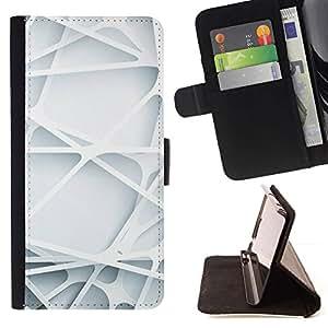 Momo Phone Case / Flip Funda de Cuero Case Cover - Lignes Web plastique White Rasé - Apple Iphone 5 / 5S