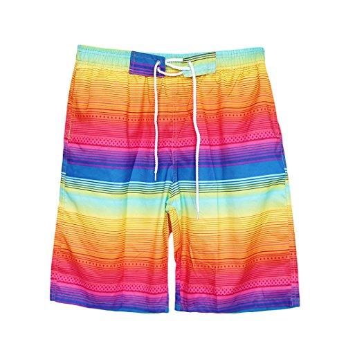 Naimo New Summer Beach Shorts Swimming Trunks Swimwear Boardshorts Beach Pants (Rainbow 2)
