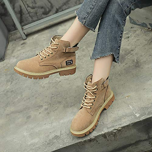Up Chunky Cheap Boots Lace Casual Boots Martin Flat Flock Lace OverDose Khaki Boots Autumn up Round Head Retro Women And Winter 5q5FtAxryw