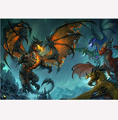 Fangeplus(TM) World of Warcraft Dragon of WOW World of Warcraft Old Style Antique Vintage Poster Bar Coffee Shop Room Decor Poster19.7''x13.7''