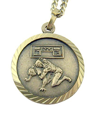 Nickel Silver Saint Christopher Wrestling Athlete Sports Medal Pendant, 3/4 Inch