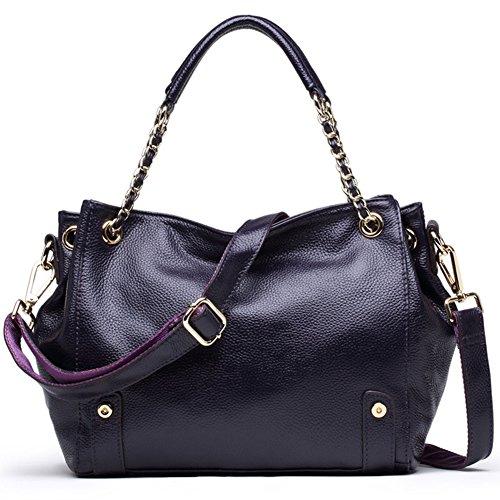 Vintga Genuine Leather Tote Shoulder Bag Top-handle Hobo Handbags Crossbody Bag Large Purse for Women (Deep (Deep Purple Leather Handbags)