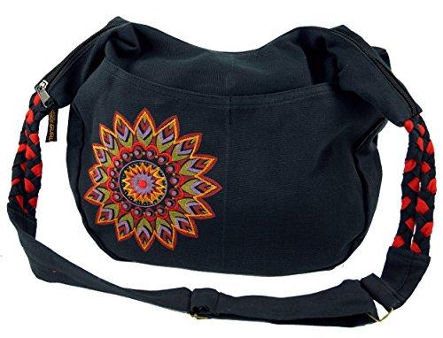 Guru-Shop Ethno Boho Shoulder Bag, Goa Bag Mandala - Black/red, Unisex Adults, Cotton, 26x33x5 cm, Shoulder Bags Black/Red