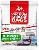 Spedalon Vacuum Storage Bags - Pack of 8 ReUsable space savers (4 Large (40x31) + 4 Medium (31x25)) with free Hand Pump for travel. Best for Clothing, Duvets, Bedding, Pillows, Curtains, Travelling