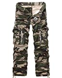 Hakjay Casual Mens Athletics Loose Multi-Pocket Twill Camouflage Cargo Pants Army camouflage-38