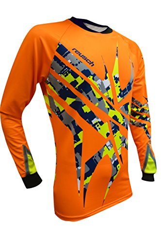 Reusch Soccer Arachnid Pro-Fit Long Sleeve Goalkeeper Jersey, Orange/Yellow, Adult Small ()