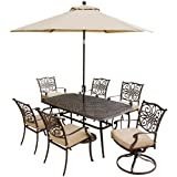 Hanover Outdoor Furniture 7 Piece Traditions Deep Cushioned Dining Set with Umbrella For Sale