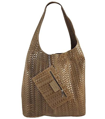 Freyday Damen Ledertasche Shopper Wildleder Handtasche Schultertasche Beuteltasche Metallic look Taupe Geflochten kWGilLdumd