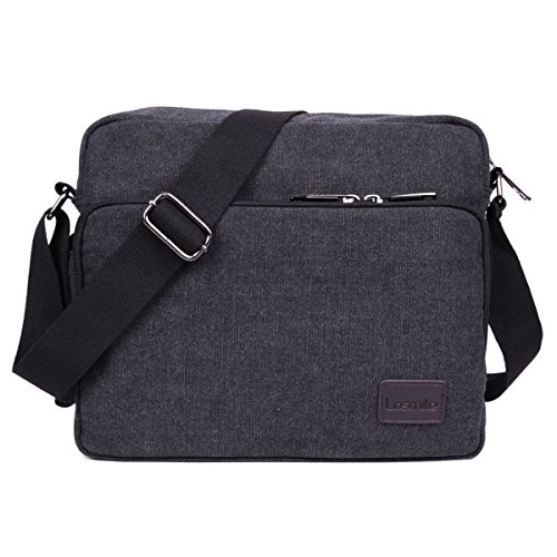 LOSMILE Messenger Bag Shoulder Bags, 26 Pockets Multifunctional Canvas Vintage Crossbody Casual Sling Bag Satchel Bag for Work, School, Daily Use (Black)