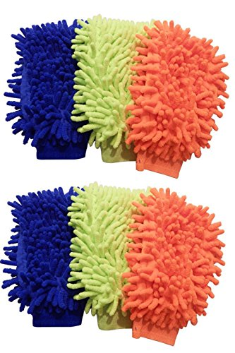 Lab88 Microfiber House Cleaning and Car Wash Mitts- Double Sided Chenille Microfiber Glove - Dynamic Microfiber Cleaning Cloth Mitten FITS Adult Hand (Multi-Color, 6-Pack)