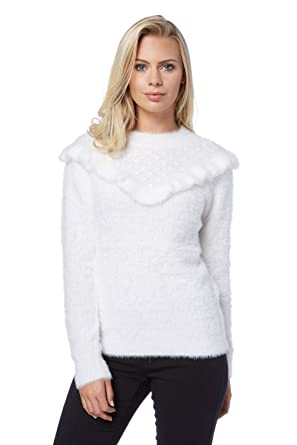 8dfe3d7e1ef6 Roman Originals Women s Fluffy Knitted Jumper - Ladies Jumpers - Ivory  White - Ivory - Size