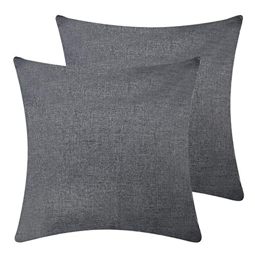 Fabric Throw - DEZENE Throw Pillow Covers,Set of 2 Natural Linen Look Fabric Cushion Covers,Decorative Lined Square Pillow-case for RV,18 x 18 Inch,Dark Grey