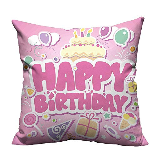 YouXianHome Zippered Pillow Covers for Kids Cartoon Seem Party Image Balloons Boxes Clouds Cake Image Light Pink Decorative Couch(Double-Sided Printing) 24x24 inch