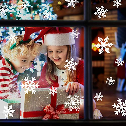 LUDILO 135Pcs Christmas Window Clings Snowflakes Window Decals Static Window Stickers for Christmas Decorations Window…