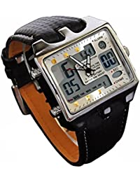 Mens Watch Big Square Face LED Dual Time Analog Digital Dial Back Light Leather Band Reloj