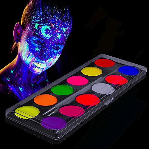 Skin About All Glow (Glow in The Dark Paint – UV Fluorescent Face, Body & Fabric Paint – 12 x 10ml Professional Best Quality Paints - Glow in The Dark Blacklight Reactive Costume Makeup Party Supplies - Free Stencils)
