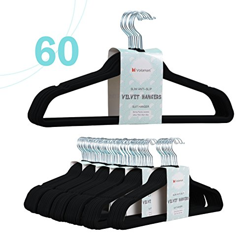 Voilamart Velvet Hangers 60 Pack - Extra Strong Heavy Duty Non Slip Suit Hangers, Ultra Thin Space Saving Clothes Hanger (Black) (Gown Spaghetti Long Strapped)