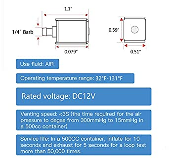 Quickun Mini Solenoid Valve DC 12V 2 Position 2 Way Normally Closed Electric Valve for Exhaust Drain Fitting