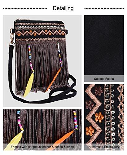 Boho Black Crossbody Fringe Beaded Handbag Pulama Crossbody Embrodiery Bags Samll xa1nqpCSw
