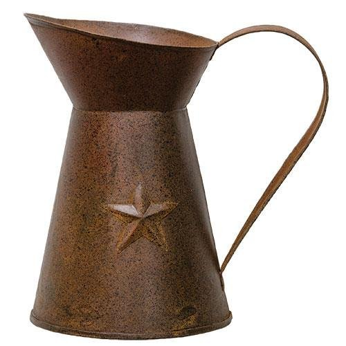 BCD Rusty Pitcher With Embossed Star - Perfect As A Floral Vase - Measures 6'' x 4''