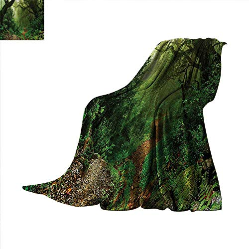 Rainforest Weave Pattern Blanket Forest in Nepal Touristic Trekking Branches Misty Road Fresh Air Outdoors Theme Summer Quilt Comforter 50
