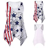FarJing Clearance Sale Women Loose Handkerchief Tank Top Lace Neck American Flag Print T-Shirt Tops (XL,Red )