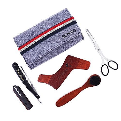 Beard Grooming Kit Tool, Best Mustache & Beard Shaping Tool for Men – Beard Brush + Mustache Combs + Straight Edge Razor + Wooden Shaping Template + Beard Scissors