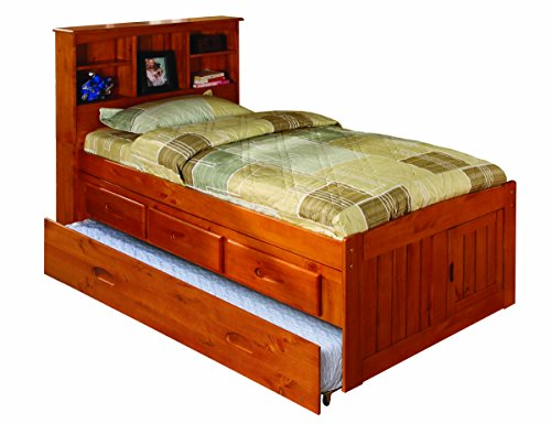 Discovery World Furniture Twin Bookcase Captains Bed with 3 Drawers and Twin Trundle, Honey - Honey Pine Bookcase