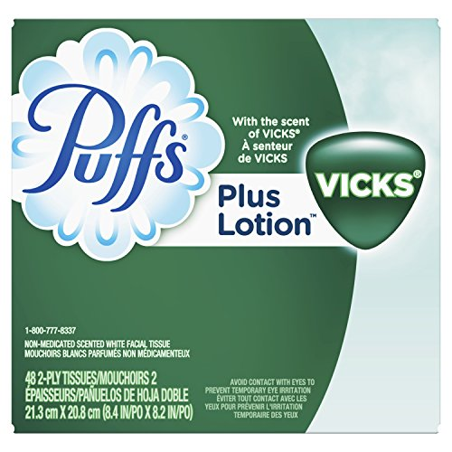 Gamble Puffs Facial Tissue - Puffs Plus Lotion With The Scent of Vicks Facial Tissues; 6 cube Boxes included, 48 Tissues per Box